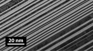 Transmission Electron Microscope (TEM) image of an aperiodic multilayer fabricated by CXRO.