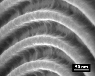 Scanning Electron Microscope (SEM) image of anisotropic three-demensional details of typical line-edge-roughness (LER).
